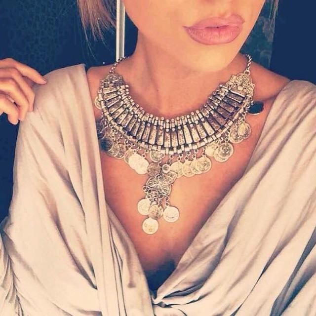 hot tassel exaggerated long Silver Coin necklace women fashion statement necklaces & pendants for women fashion jewelry
