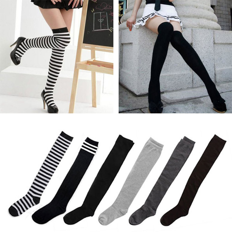 Hot Sale Women&39;s Cotton Sexy Thigh High Over The Knee Socks Long Stockings for Ladies , Fashion Girls Stockings Meias Calcetines