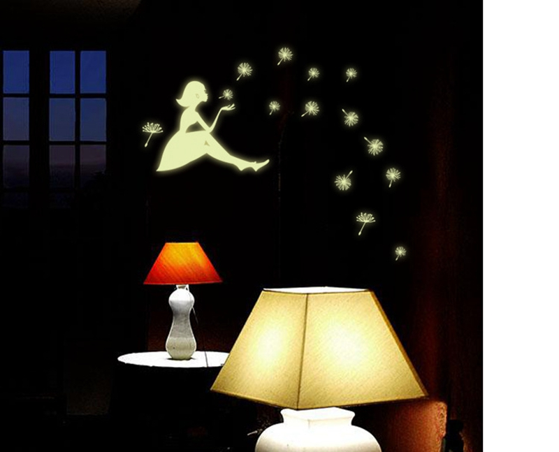 Top Grand Dandelion Girl Stars Glow In The Dark Luminous Fluorescent Plastic Wall Stickers Living Home Decor for Kids Rooms