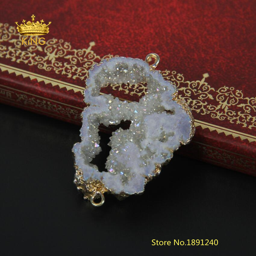 Plated Gold White Geode Druzy Connectors 6-7mm Thick Double Bail Natural Quartz Stone Slices Charms Connector Pendant GH001