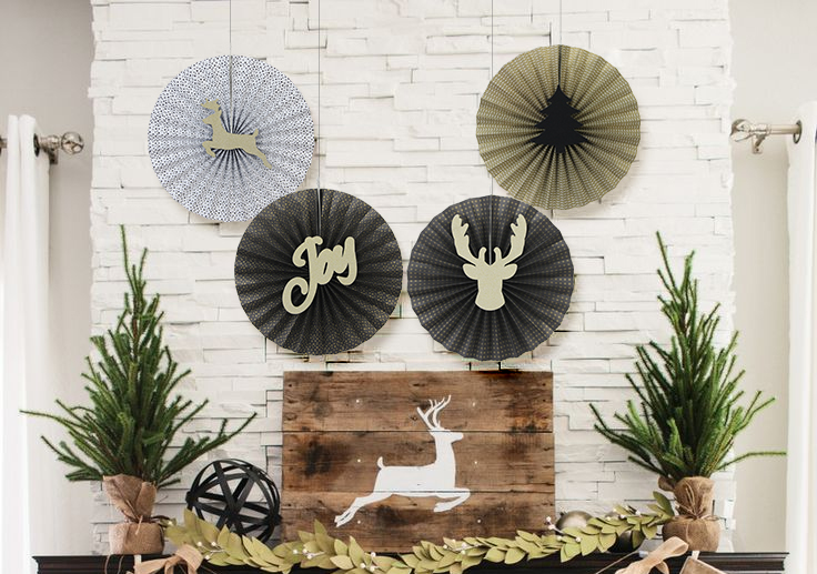 Merry Christmas 4Pcs Gold / Black Christmas Paper Fan Christmas Decorative Fan Deer / Joy Patterns Christmas Tree Hanging
