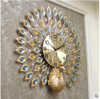 2017wall clock home decoration decor clocks painting morden design birds peacock clocks times quartz