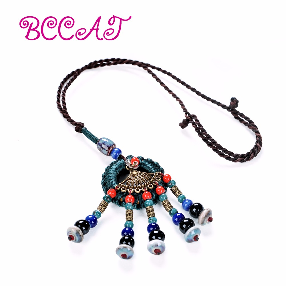 wholesale BCCAT 2017 fashion ceramic jewelry handmade fashion Pendant Necklace women colorful beads pendant choker